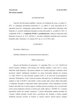 Najvyšší súd 4 Cdo 241/2013 Slovenskej
