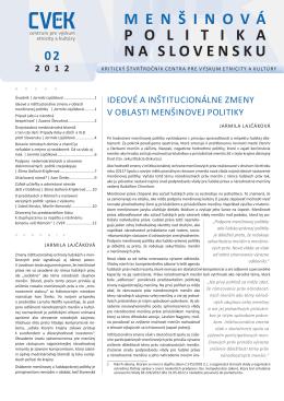 MENšINOVá POLITIKA NA SLOVENSKU