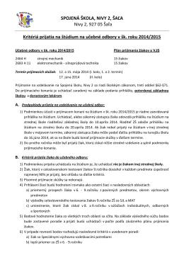 Kritériá prijiatia na štúdium na učebné odbory v šk