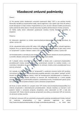 Všeobecné zmluvné podmienky - Kronika Slovenskej Republiky