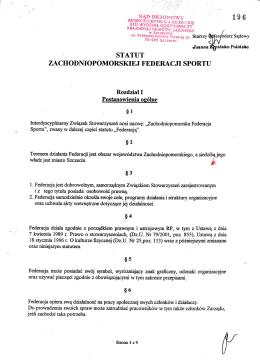 Statut ZFS - Zachodniopomorska Federacja Sportu