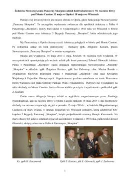 Relacja z obchodów 70. rocznicy Bitwy o Monte Cassino