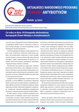 Nr 4/2011 - Narodowy Program Ochrony Antybiotyków