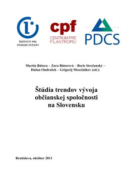 Štúdia trendov vývoja občianskej spoločnosti na Slovensku