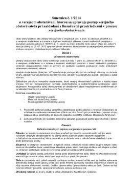 Smernica č. 1/2014 o verejnom obstarávaní, ktorou