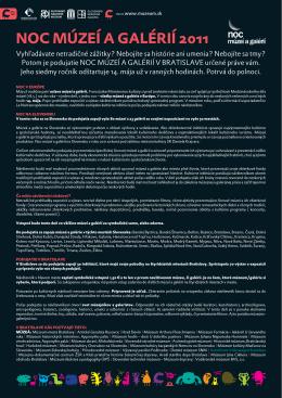 Tlačová správa k Noci múzeíí a galérií 2011 (PDF)