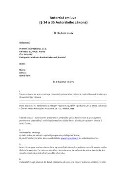 Autorská zmluva (§ 34 a 35 Autorského zákona)