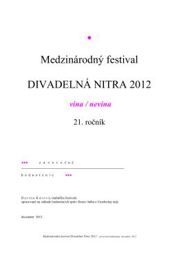 Záverečné hodnotenie Divadelná Nitra 2012