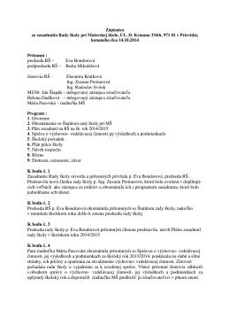 Zápisnica zo zasadnutia RŠ 14.10.2014
