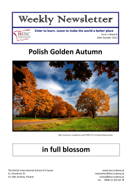 newsletter tm1 wk8 2012 - British International School of Cracow
