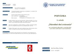 Pozvánka Národné dni zvárania 2011 (PDF)