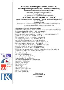 PDF pozvánke - Ekonomický ústav SAV