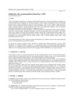 Kalibrácia váh s neautomatickou činnosťou v SMU
