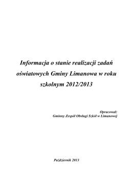 INFORMACJA o stanie oświaty 2012-2013