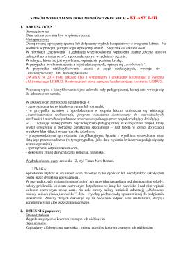 SPOSÓB WYPEŁNIANIA DOKUMENTÓW SZKOLNYCH - sp1