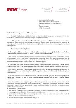 Národná banka Slovenska Odbor dohľadu nad trhom