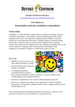 Emocionalita, motivácia, socializácia a komunikácia