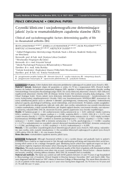 Czynniki kliniczne i socjodemograficzne determinujące jakość życia