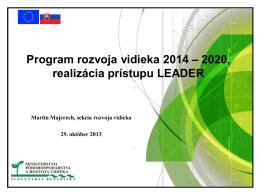 Program rozvoja vidieka 2014 – 2020