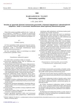320/2010 Nariadenie vlády Slovenskej republiky, ktorým sa