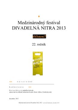Medzinárodný festival DIVADELNÁ NITRA 2013