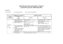 Materiał nauczania matematyki w klasie V na podstawie programu