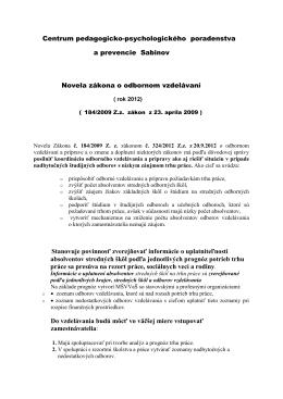 Zákon o odbornom vzdelávaní - novela