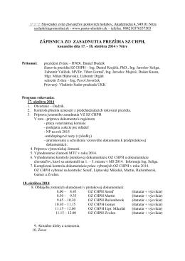 Zasadnutie prezídia 18.10.2014