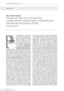 PRENATáLNE DIEťA. PSyCHOSOMATICKé CHARAKTERISTIKy