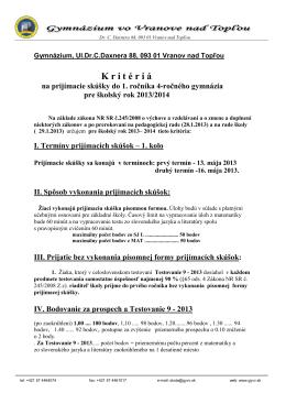 Gymnázium, Ul - Gymnázium vo Vranove nad Topľou