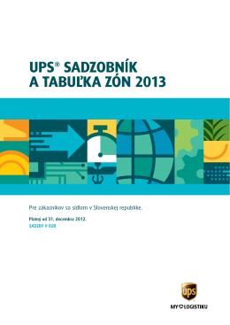 ups® sadzobník a tabuľka zón 2013