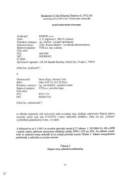 Dodatok č.l ku Kúpnej Zmluve č. 37/L/IO