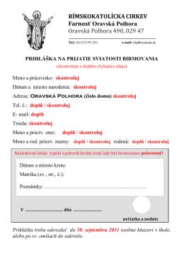 RÍMSKOKATOLÍCKA CIRKEV Farnosť Oravská Polhora Oravská
