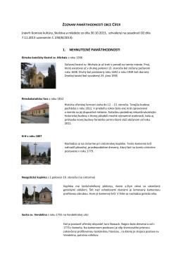 Zoznam pamätihodností s fotografiami a krátkym popisom