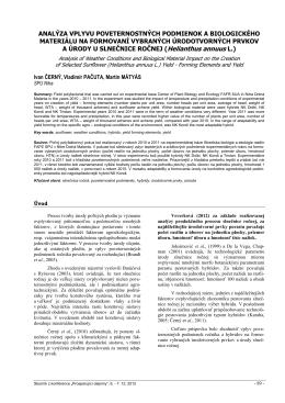 analýza vplyvu poveternostných podmienok a