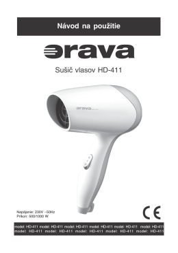 Návod na použitie Sušič vlasov HD−411