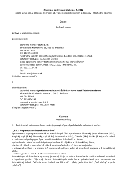 Zmluva o poskytovaní služieb č - Gymnázium Pavla Jozefa Šafárika