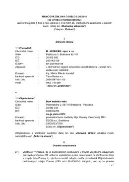 RÁMCOVÁ ZMLUVA O DIELO č.26/2014 (na výrobu a montáž