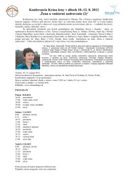 Konferencia Krása ženy v dňoch 10.-12. 8. 2012 'Žena