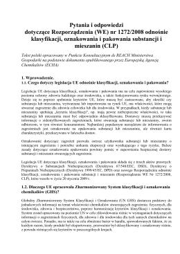 Pytania i odpowiedzi dotyczące Rozporządzenia (WE) nr 1272/2008