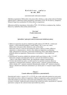 k stiahnutiu kolektávna zmluva na rok 2015