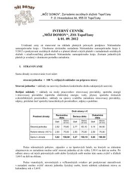 """INTERNÝ CENNÍK """"MÔJ DOMOV"""", ZSS Topoľčany k 01. 09. 2012"""