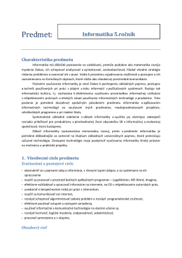 Informatika 5. ročník – autor Mgr. Z. Šefčíková