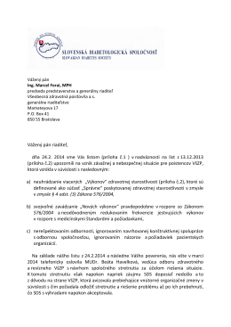 (príloha č.1 ) v nadväznosti na list z 13.12.2013 (príloha č.2)