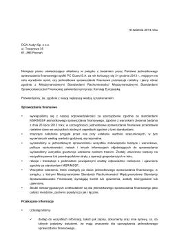 Oświadczenie Zarządu PC Guard SA dla spółki DGA Audyt sp. z o.o.