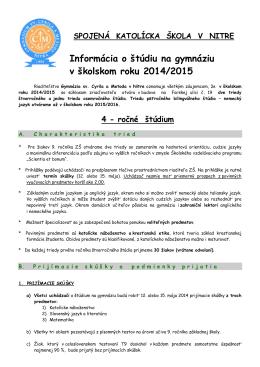 informácia internet - Gymnázium sv. Cyrila a Metoda