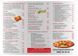 Reštauračný bulletín IVICA 2014