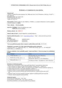 Zápisnica z vyhodnocovania ponúk