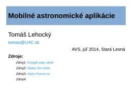 Mobilné astronomické aplikácie