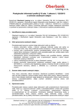 Informácie podľa § 15 ods. 1 Zákona o ochrane